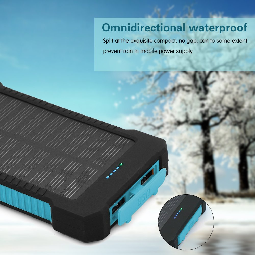 Solar Power Bank-10,000mah Phone Charger- rubber waterproof case