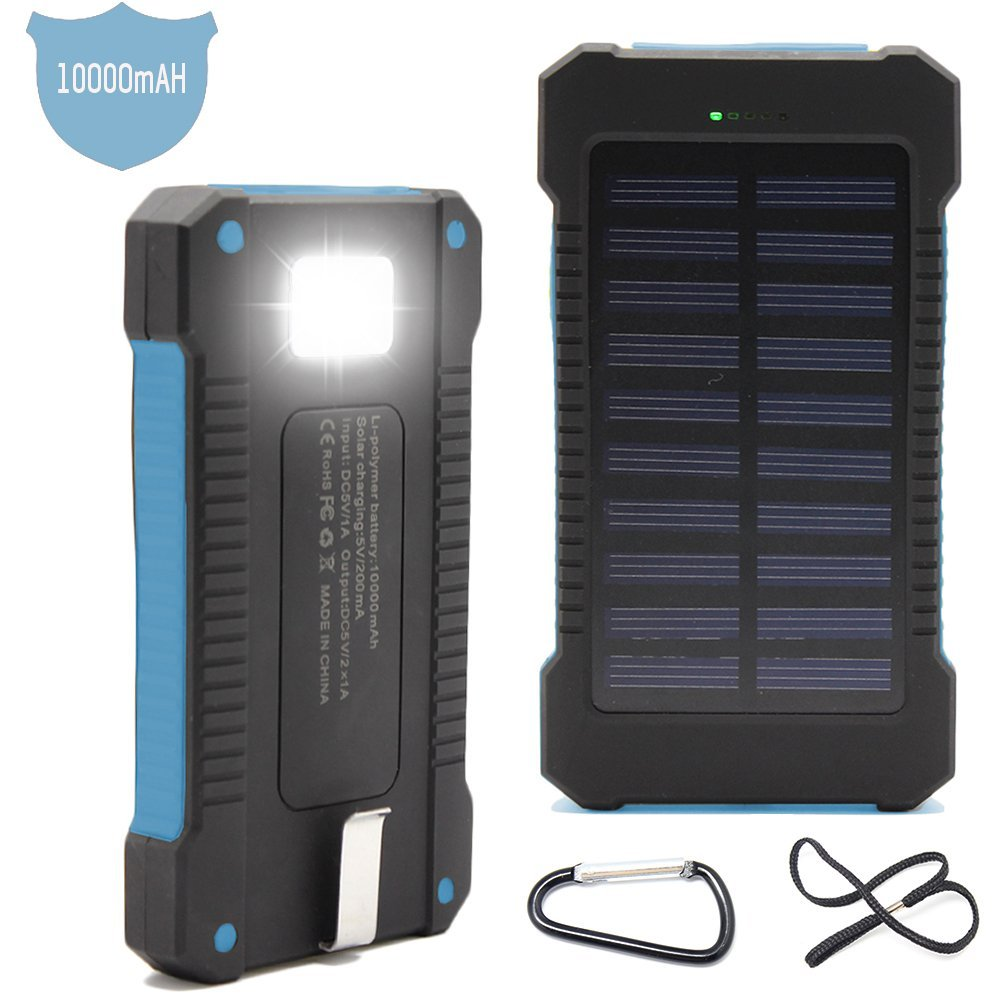 Solar Power Bank 10 000mah Phone Charger Rubber